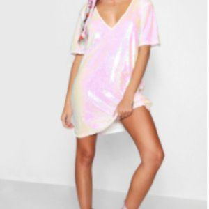 Plunge Front All Over Sequin Shift Dress